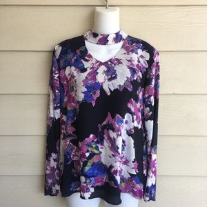 NWT The Limited Floral Choker Top Black Purple